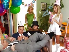 Lesbo orgy looked over by genie Ron Jeremy