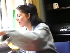 Nasty brunette legal age teenager taking schlong in auto shop