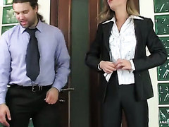 Female co-worker with a fine behind getting her tight butthole crammed hard
