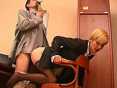 Slutty co-worker sniffing high heel shoes whilst fucking sexy gal in dark pantyhose
