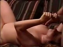 Watch sexual homemade video with obese doll jerking off hard dick and petting balls of her husband until this guy shoots his sexy cum on her huge boobs.