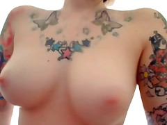 The perfect emo girlfriend featured on this oozed intimate web camera clip scene is wearing nothing but her sexy tattoos whilst this hottie fingers her pussy and ass for her cyber show fans! That hottie copulates herself with dildos too!