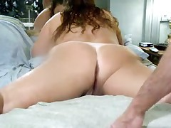 This is what my wife finds majority arousing - lying  with her legs wide apart, letting me drill her pussy and asshole with dildos. And this is her 1st anal sex vid!