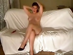 This curvy fem felt very shy posing before her BF's livecam at first but then that babe relaxed and teased him with her full meatballs and soaking pussy.