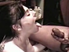 Wench Angie receives a spunk shower from a large cock, all in slo motion. Angie sucks the cream from a large 10-Pounder until that babe is sprayed with a giant facial