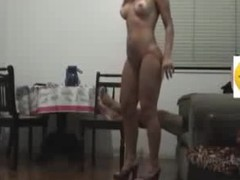 Sex goddess with lengthy flowing hair knows how to please her BF visually by getting naked in her heels and showing a little pubic hair line on her cunt. He fucks her hard core on the chair and makes them both cum.