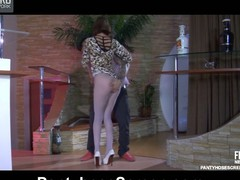Tall playgirl parts her mile-lengthy legs in blue patterned pantyhose for a fuck