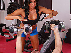 Lezley Zen's working as a personal trainer and this babe's got a fresh client, but this playgirl doesn't know which of the two guys it is in the gym. Johnny Sins tricks the other guy into leaving the gym so this chab's alone for some one on one time with Lezley. 1st Lezley shows him some proper ways to toning some muscles, then later Johnny shows Lezley some sexy work outs that gets her sweating!