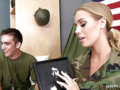 Look at this hot marine chick Nicole Aniston, this babe is a hot, golden-haired hair, soaked lips, gorgeous eyes and consummate large tits. Her friend is filming her and this babe receives down on her knees getting ready to wrap those soaked hot lips around his large hard penis, is he going to give her a massive load of cock juice on those hot lips and marvelous face?