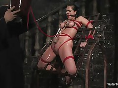 Mia Bangg is fastened and gagged in the dungeon where her hangman sprays her nipple-clamped tits. That guy asks if she wants to get drilled and she does, but first he gives her a little greater amount pain by pulling tight the rope that splits her muff lips and smacks her muff previous to using a dildo on her.