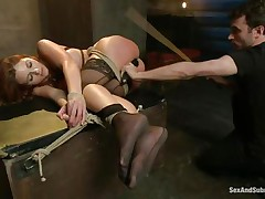 After breaking her self esteem it's time for that sexy ass to be exploited. Kenzie finds out that this babe can't live without being treated like a worthless doxy and when the executor fingers her and spanks these sexy legs this babe implores for more. A big hard 10-Pounder enters her tight anus, making Kenzie moan with great lust.