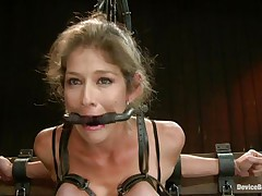 She's caught in that thraldom device for your pleasure. Watch how constricted she's bound in it? Yeah, this bitch loves it that way and this babe will acquire a treatment hard to forget and forgive. That hot booty of hers is getting whipped hard and this babe moans with pleasure and pain before getting her squeezed tits whipped too. She was a very bad angel and now is time for some sex toys, a dildo on the clit will do just right but do u think this babe merits more?