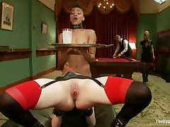 Horny Juliette is licking Nikki`s constricted pussy, whilst getting fucked very hard. She is moaning with fun and receives her love tunnel spanked so hard, whilst Nikki receives her ass whipped. Nikki is the waitress tonight and has to hold a coaster and be careful not to spill it, even though she is not quite cumming!