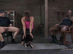 She's sexually broken in a way that that chick deserves. Ava always liked to suck a cock and this time that chick does it blindfolded. 2 studs are sitting on chairs, one white and the other one black. This chick sucks them one at the time, not knowing who is who. Perhaps the taste of cum will make a difference.