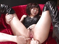 This innocent looking fur pie named Megumi is a fucking whore. That babe was laying on that sofa burning with lust when I came and start playing with her holes. Megumi offered her butt and enjoyed what I did to it. Using some sex toy I glad this bitch and stuffed her rectal hole and that juicy and juicy pussy.