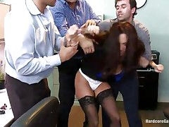 Ava Addams is a hawt French lady with nice big titties and wide ass. This hawt milf got attention of several of her colleagues and one day they decided to team fuck her at the office. So, James, Danny and Ramon receive avid in her presence and strips her against her will and they begin fucking her with pleasure!