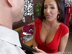 Johnny Sins is getting on one of his workers for trying to  steal something. Look at her long hair, her large fat milk cans and the way this hottie groans while he licks her hard nipples. Do u think this hottie is going to take some cock in that filthy mouth?
