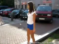Young guy picks up cute brunette hair in the parking lot and takes her home to fuck