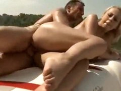 Slut on a boat has great big natural tits