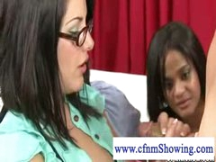Cfnm girl with glasses and big love melons acquires cum on her love melons