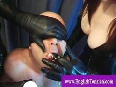 Captivated man thrall tongue punnished with leather gloves