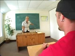 Heavily tattooed blonde teacher screwed