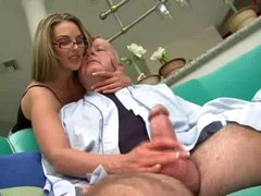 Super hot beauty in glasses screwed by chubby old man